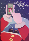 Vector poster with Santa and Sale on all apps lettering. Vector poster with Sale on all apps lettering. Santa Claus showing gift on the mobile phone with his Royalty Free Stock Photography