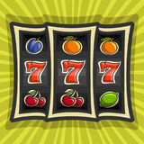 Vector poster for Slot Machine theme. Gambling logo for online casino on background of rays of light, gamble game icon with jackpot bonus win - 777, on reel of vector illustration