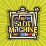 Vector poster for Slot Machine theme. Gambling logo for online casino on background of rays of light, gamble sign with lettering title - slot machine, on reel stock illustration