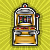 Vector poster for Slot Machine theme. Gambling logo for online casino on yellow rays of light background, gamble sign with isolated vintage slot machine, on vector illustration