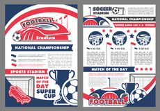 Vector poster for soccer football championship. Soccer national championship game announcement poster design template for football cup or sport match tournament stock illustration