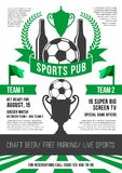 Vector poster for soccer sports pub. Soccer sports pub or football fan club beer bar poster design template. Vector soccer victory cup, beer drink and football Stock Photo