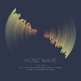 Vector poster of the sound wave. Poster of the sound wave. Vector illustration on dark background Stock Image