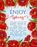Vector poster of spring poppy flowers wreath Royalty Free Stock Photos