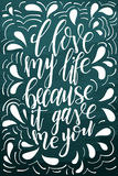 Vector poster with sweet quote. Hand drawn lettering for card design. Romantic background. I love my life because it gave me you Royalty Free Stock Photo
