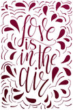 Vector poster with sweet quote. Hand drawn lettering for card design. Romantic background. Love is in the air Royalty Free Stock Photography