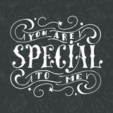 Vector poster with sweet quote. Hand drawn lettering for card design. Romantic background. You are special to me. Vector poster with sweet quote. Hand drawn Stock Images