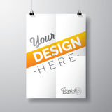 Vector poster template of a folded paper sheet Stock Photo