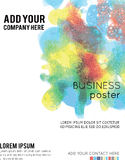 Vector Poster Template with Watercolor Paint Splash. Abstract Aq Royalty Free Stock Photo