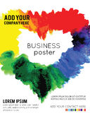 Vector Poster Template with Watercolor Paint Splash. Royalty Free Stock Photo