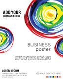 Vector Poster Template with Watercolor Paint Splash. Stock Images