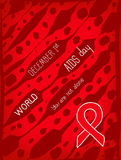 Vector poster template. World AIDS Day, 1st December, vector poster template. Red ribbon, hand drawn design element Royalty Free Stock Photography