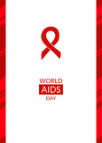 Vector poster template. World AIDS Day, 1st December, vector poster template. Red ribbon, hand drawn design element with seamless side border. Isolated on white Stock Image