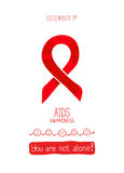 Vector poster template. World AIDS Day, 1st December, vector poster template. Red ribbon, hand drawn design element.  on white Stock Image
