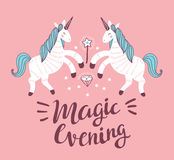Vector poster with unicorns on the pink background. Fantasy childish card design. Royalty Free Stock Photos