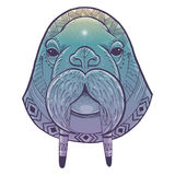Vector poster with walrus totem Royalty Free Stock Photo