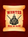 Vector poster wanted dead or alive medieval knight. Wanted dead or alive poster with medieval knight or ancient warrior with swords and safety helmet. Eloped Royalty Free Stock Photography