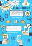 Vector poster of web data and internet security. Web data security in internet and online secure access technology. Vector poster design of user secure Stock Images