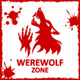 Vector poster. Werewolf zone. White background Stock Photo