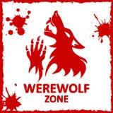Vector poster. Werewolf zone. White background Stock Photo