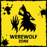 Vector poster. Werewolf zone. Yellow background Stock Photo