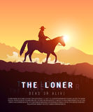 Vector poster wild West. Loner. Royalty Free Stock Image