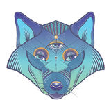 Vector poster with wolf`s totem Stock Photography