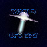 Vector poster for world ufo day with aliens spaceship. Royalty Free Stock Photo