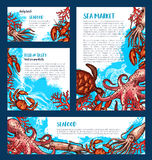 Vector posters or banners for fish seafood market. Fresh fish and seafood market posters and banners templates set of vector octopus, squid or shrimp and lobster Stock Images