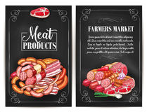Vector posters for butchery shop meat products. Meat products of farmers market. Butchery shop meat delicatessen of ham or bacon brisket, butcher gourmet Stock Image