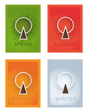 Vector posters. Four year seasons. Seasonal posters with stylize Stock Photos