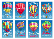 Vector posters for hot air balloon tour or show Stock Image