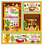 Vector posters Mexican Cinco de Mayo fiesta party. Cinco de Mayo Mexican national holiday celebration fiesta party posters. Vector banner of Mexican cactus Stock Photos