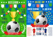 Vector posters for soccer sport football game. Soccer sport cup tournament posters design template for football league teams match or cup championship. Vector Royalty Free Stock Photos
