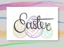 Vector Postkarte oder Fahne mit der Hand, die Ostern beschriftend gezeichnet wird Lizenzfreies Stockfoto