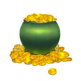Vector pot with gold coins Stock Photography
