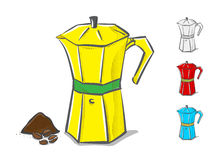 Vector pot in hand doodle style ,coffee concept Royalty Free Stock Photos