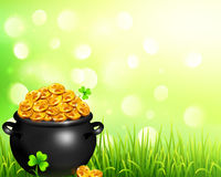 Vector pot of magic gold on bokeh light background Stock Photography