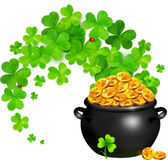 Vector pot of magic gold with clovers swirl Stock Image