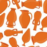 Vector pottery seamless pattern, vases, amphora, ceramics. Vector pottery seamless pattern - ancient greek vase, amphora, antique pitcher. Old brown earthenware Stock Illustration