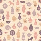 Vector pottery seamless pattern with vases and other pottery craft. stock illustration