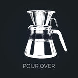 Vector Pour Over coffeemaker illustration. Hand sketched dripper and pot for alternative brewing method. Royalty Free Stock Image