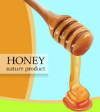 Vector Pouring Honey From Wooden Stick Realistic illustration. Card, Poster, Shop, Advertisement Template. Royalty Free Stock Image