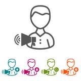 Vector povos com ícones do megafone na linha fina estilo e projeto liso Imagem de Stock Royalty Free