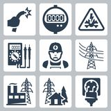 Vector power industry icons set Royalty Free Stock Photography