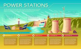 Vector power stations infographics template. Vector cartoon energy stations alternative, renewable traditional infographics template. Illustration solar panel Royalty Free Stock Image