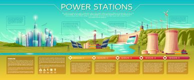 Vector power stations infographics template. Vector power stations, modern city. business presentation, banner, brochure template. Infographics, text space Royalty Free Stock Images