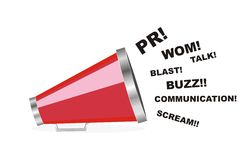 Vector PR communication megaphone. White isolated vector of PR communication word of mouth wom buzz megaphone Stock Photo