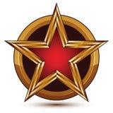 Vector prachtvolles glattes Gestaltungselement, roten Stern des Luxus 3d Stockfoto