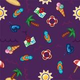 Vector a praia do teste padrão, tema do verão, palmeiras, mar no fundo escuro Fotos de Stock